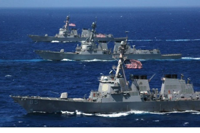 Navy ships in the sea